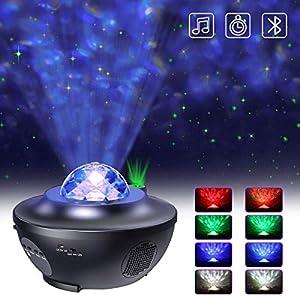 LED Projektor Sternenhimmel Lampe mit Fernbedienung Starry Stern Mond/Wasserwellen-Welleneffekt/Bluetooth Lautsprecher Perfekt für Party (Schwarz)