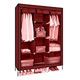 #3: GTC 6+2 Layer Fancy And Portable Foldable Collapsible Closet/Cabinet (Need To Be Assembled) (88130) (Wine Red)