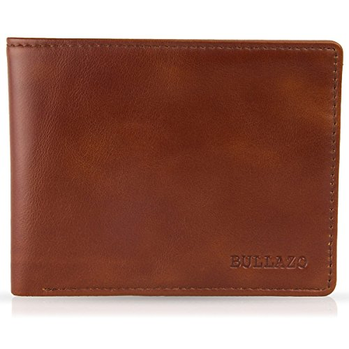 BULLAZO Fino Discreta, Geldbörse ohne Münzfach mit RFID Schutz, Leder, Braun