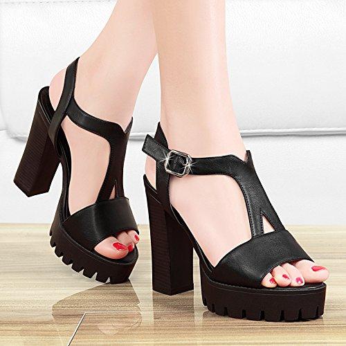 GTVERNH-estate nera 7.5cm solo scarpe alla moda femminile a bocca di pesce sandali piattaforma comodi tacchi alti spesso fondo e le scarpe,39 Thirty-five