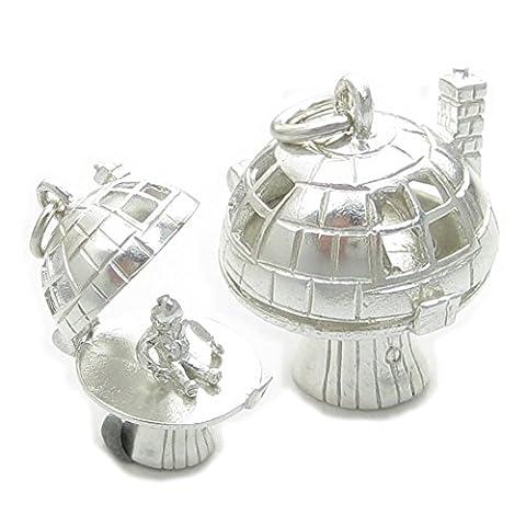 Maldon Jewellery EC893 Pendentif en argent sterling en forme de maison champignon qui s'ouvre