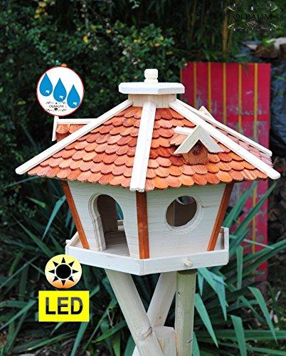Vogelhaus Massivholz,Massiv-WETTERFEST, mit Ständer Standfuß und Silo,Futtersilo für Winterfütterung mit Beleuchtung,Licht-LED, Futterstation aus Holz SRL45heMS mit Schindeldach hellbraun braun mit Ständer - 2