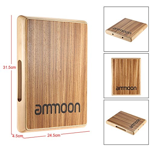 ammoon Wooden Box Drum Cajon Hand Drum Persussion Instrument (Compact Travel Cajon)