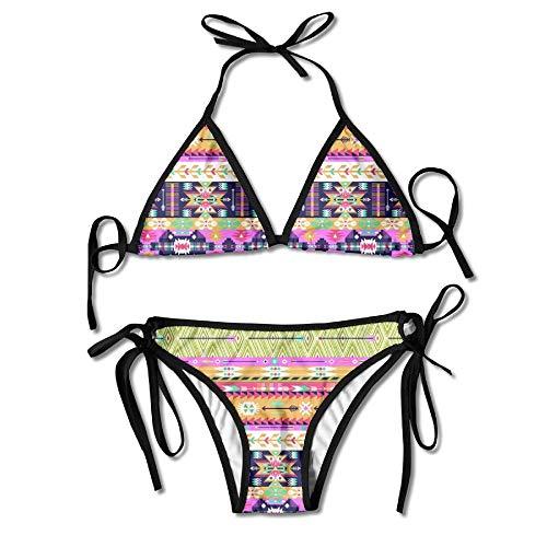 48d6c9f60b Women s Sexy Bikini Set National Style Printing Custom Tie 2 Piece Bikini  Suits Pushed Up Bathing