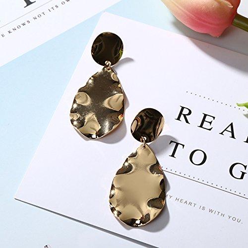 WEIAIXX Metall Temperament Übertrieben, Europa Und Die Vereinigten Staaten Retro-Mode Einfach Persönlichkeit Hundert Runde Luft Ovale Welle Ohrring Ohrringe Weibliche 0350- Gold (Runde Luft)