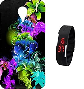 BKDT Marketing Printed Back cover for Micromax Nitro 4G E455 with Digital Watch
