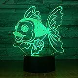 Goldener Fisch Mit 7 Farben Licht 3D Led Nachtlicht Dekoration Lampe Visualisierung Optische Täuschung Ehrfürchtiges Licht Valentinstag Geschenk