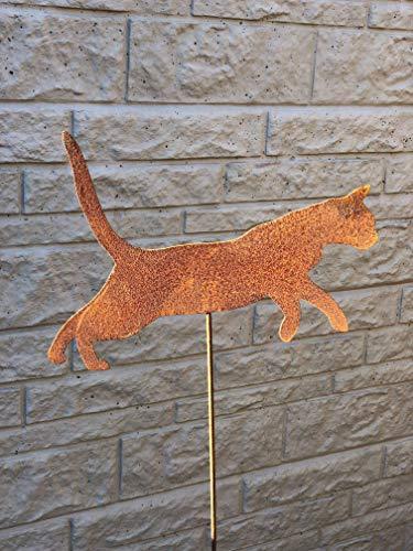 Gartenstecker Katze springend aus Metall/Rost am Stab, ca. 100cm hoch, NEU -