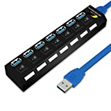 ONCHOICE 3.0 USB Hub de Données 7 Ports avec 100cm Câble USB Ultraléger Distributeur Noir avec Diagnostic SuperSpeed d'Affichage à LED Supporte Plugin Hot ou Plug & Play avec Interrupteur d'Economie d'Energie pour PC Portable Notebook Ordinateur Windows MAC (non adaptateur EUR alimentation)