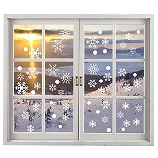 Miki&Co 200 Noël Flocons De Neige Stickers Vitres - Hiver Fenêtre Décoration Autocollants - Amovibles Statiques PVC