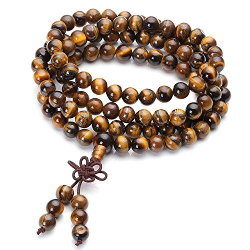 JOVIVI 8mm 108 Perlen Tibetisches Buddha Armband mit Rudraksha Wickelarmband Buddhismus Mala Kette Gebetskette Energietherapie Yoga Halskette Schmuck/Tigerauge