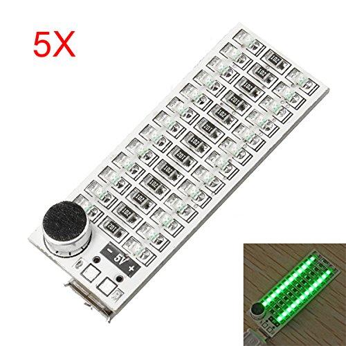 MYAMIA 5Pcs 2 x 13 USB-Mini Spectrum Grüne LED-Platine Voice Control Empfindlichkeit Einstellbar