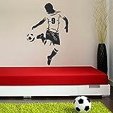 malango® Wandtattoo Fussballer mit Wunschnummer Fussballspieler Trikotnummer Wanddekoration Kinderzimmer Jugendzimmer Sport Fussball Hobby Freizeit Nummer Dekoration ca. 53 x 80 cm rot