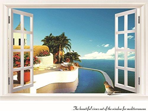 Zooarts 3d ventana Mar Paisaje Pájaros extraíble de pared adhesivo adhesivos decoración mural de vinilo para salón o dormitorio