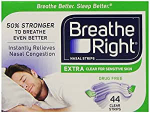Breathe Right Bandelettes Nasales (Extra - Transparent) 44 Bandelettes Taille Unique