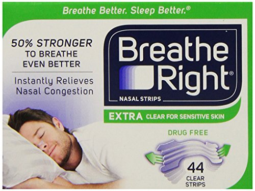 Breathe Right Nasal Strips, Extra Clear for Sensitive Skin, 44 Clear Strips -