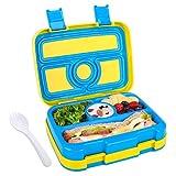 WayEee Bento Box per Pranzo Lunch Box con 4 Compartimenti per Bambini Perfetto per Forno a Microonde Atossico Inodore BPA Free Contenitore per Alimenti, Blu e Giallo