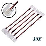 TOOGOO(R) 30X LED-Leiterplatte-Stecker-Adapter 2 Pin fuer 5050 und Monocolor RGB-Streifen-8mm breit