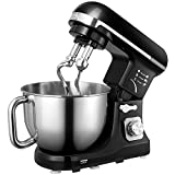 Aicok Stand Mixer, Food Mixer, Kitchen Electric Mixer 1000W with Double Dough Hook, Whisk, Beater, Splash Guard, 6-speed, 5-Litre Stainless Steel Bowl, Black
