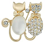 SaySure - Gold Plated Double Bowknot Cat Opals Crystal Brooches