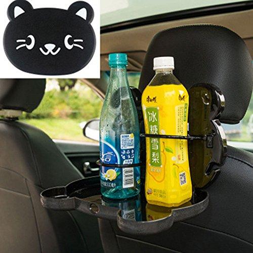 Schwarze Outdoor-esstisch (Sedeta® schwarzes Kätzchen Auto-Ablageständer Faltbare Esstisch Sitzlehne erziehende Reise Cartoon-Muster)