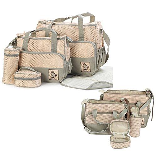 Itian Set di 5pz Borsa per Bambino Mamma Diaper Bag Sacchetto Pannolino per Bambini Tote Bag Organizzatore con Cinghia per Bottiglia Bagagli Bambino Fasciatoio (Cachi)