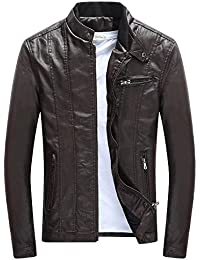 aca97866cc880 ClairSue Homme Blouson Harrington blouson de cuir Casual zippé automne  hiver chaude fourrure épaissir motards pu