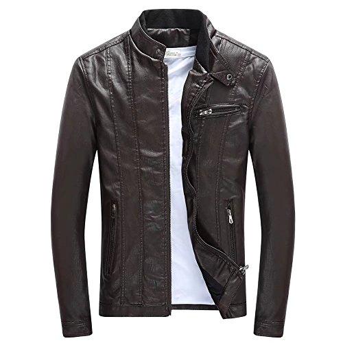 Homme Blouson Harrington blouson de cuir Casual zippé automne hiver chaude fourrure épaissir motards pu monter Fleece Manteau Slim Outwear ClairSue