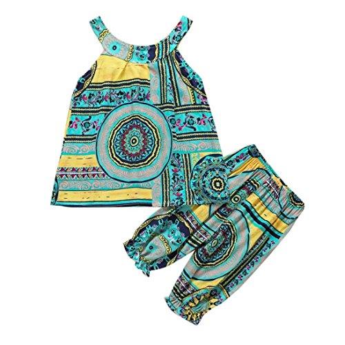 Bonjouree Pantalons Et Tee-Shirts Fille Hauts Sans Manches Imprimé Et Pantalon Ete pour enfant Fille 3-6 Ans (Vert, 3 Ans)