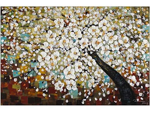 KunstLoft® Gemälde \'Zauber im Baumwipfel\' in 120x80cm | XXL Leinwandbild handgemalt | Baum Weiß Kirschblüten Blüte Braun | Wandbild-Unikat | Acrylgemälde auf Leinwand | Großes Acrylbild
