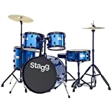 Stagg 25020591 TIM120B Drum Set (50,8 cm (20 Zoll), 5 Stück) inkl. Hardware mit Cymbal Throne blau