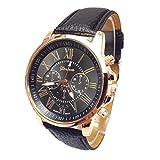 Lässige Uhr für Männer, Quarz-Uhrwerk, Kunstlederarmband, schwarz
