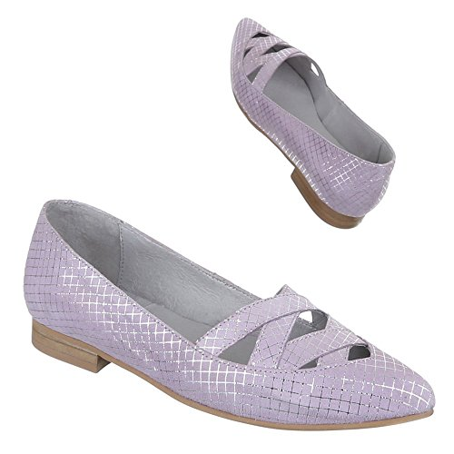 Damen Schuhe, 5235, Pumps Komfort Leder Lila