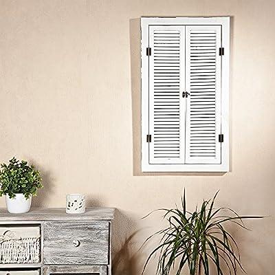 Spiegel mit Fensterläden in Weiß aus Holz Shabby Chic