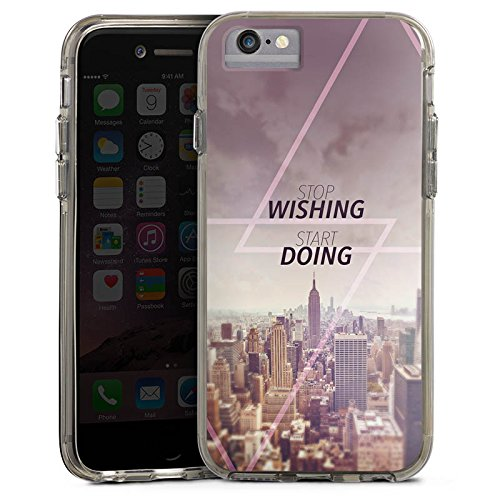 Apple iPhone 7 Bumper Hülle Bumper Case Glitzer Hülle City Wish Statement Bumper Case transparent grau