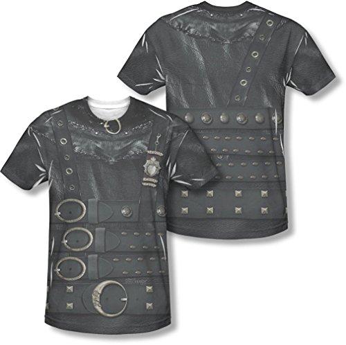 Edward Scissorhand Kostüm - Edward Scissorhands - Herren Edward Kostüm (vorne / hinten Print) T-Shirt, XXX-Large, White