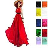 510LMirIuSL. SL160  BEST BUY UK #1Years Calm Women's Summer Bohemia Chiffon Big Skirt Sexy Sleeveless Loose Beach vacation dresses (One size, Red) price Reviews uk