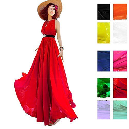 510LMirIuSL BEST BUY UK #1Years Calm Women's Summer Bohemia Chiffon Big Skirt Sexy Sleeveless Loose Beach vacation dresses (One size, Red) price Reviews uk
