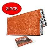 Bramble 2 Stück Notfall Biwak-Sack - Survival Schlafsack – Kälteschutz – Bushcraft – Thermo-Isolierung Leuchtend Orange Außenseite, Reflektierende Innenseite
