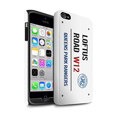 Officiel Queens Park Rangers FC Coque / Brillant Robuste Antichoc Etui pour Apple iPhone 4/4S / Pack 8pcs Design / QPR Loftus Road Signe Collection Blanc/Bleu