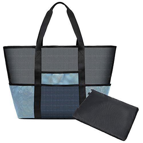 KEESIN Großer Strand Tragetasche Mesh Einkaufen Handtaschen Lebensmittelgeschäft Aufbewahrungstasche für das Feiertags Picknick Schwimmen (Blau)