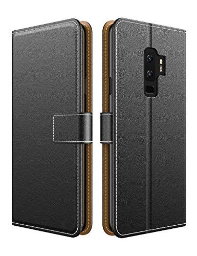 EMIRROW Samsung Galaxy S9 Plus Coque, Flip Cover en PU Cuir Magnétique Étui de Protection rabattable style Coque Etui (Noir)