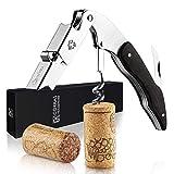 CORKAS Kellnermesser - multifunktionaler Korkenzieher mit Natur Ebenholzgriff - Weinöffner