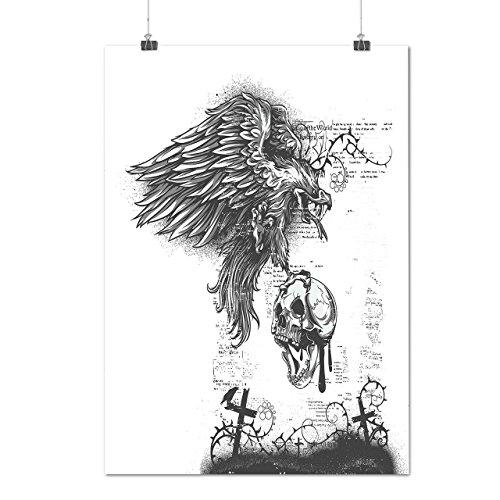 Adler Schädel Tod Horror Böse Adler Mattes/Glänzende Plakat A3 (42cm x 30cm) | (Krieger Adler Kostüm)