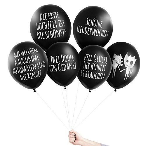 Pechkeks Anti-Party-Ballons, schwarze Luftballons mit schrägen Sprüchen, Hochzeits-Set, -