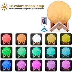 """Lámpara de Luna 15CM de diámetro (5,9"""") 3D LED Luz de Noche, 16 Colores Control Remoto & Control Tactil Luz con Carga USB y el Soporte"""