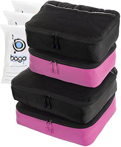 Packing Cubes 4pcs Value Set for Travel – Plus 6pcs Luggage Organiser Zip Bags (2Black+2Pink)