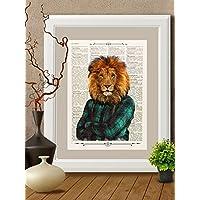 Stampa leone in camicia su pagina di libro antico