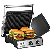 DEIK SandwichToaster, 6-in-1 Panini Press and Grill with Timer and Temperature Controller, 2000W, 4 Large Non-Stick Removable Plates for Family, 180° Flat Open, Removable Drip Tray, Stainless Steel