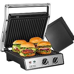 DEIK Appareil à Croque Monsieur, Presse à Panini 6 en 1, Grill Sandwich avec Minuterie et Température Réglable, 2000W, 4 Plaques Anti-adhésives de 290x230 mm, Bac de Récupération des Graisses